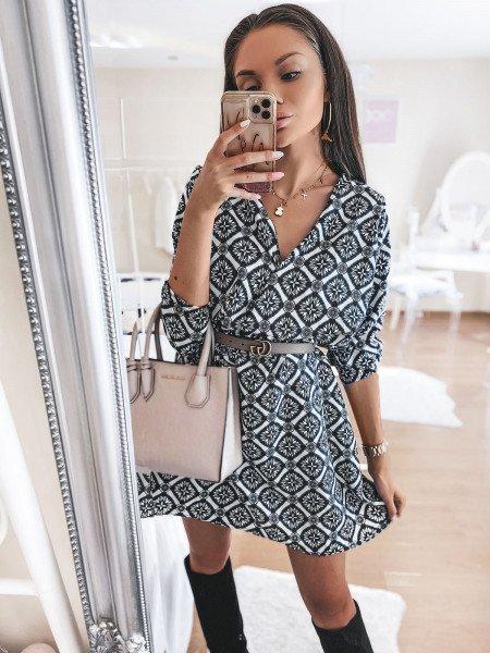 Sukienka print z przekładanym dekoltem JANTAR - wzór 13