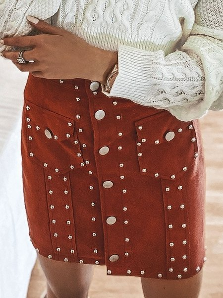 Zamszowa spódnica z dżetami - ROCK - ceglasty