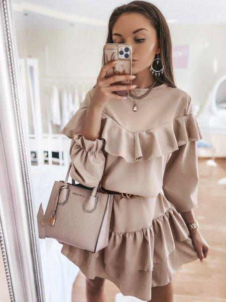 Rozkloszowana sukienka z falbankami KELLY - beżowa
