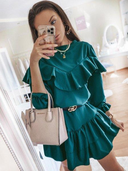 Rozkloszowana sukienka z falbankami KELLY - butelkowa zieleń