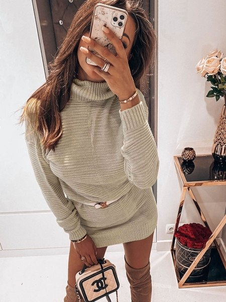 Sweter tunika z golfem ROXY - beżowa