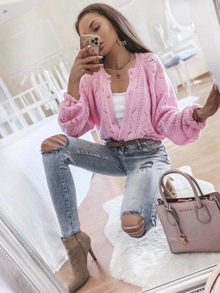 Spodnie jeansy push up CORA - szare