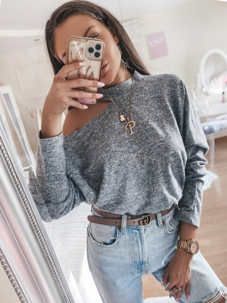 Sweter z chokerem KATE - szary melanż