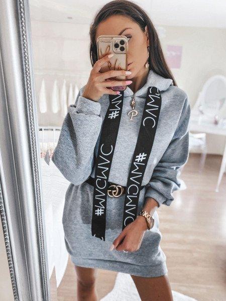 Dresowa sukienka z kieszenią ALVES - szary melanż