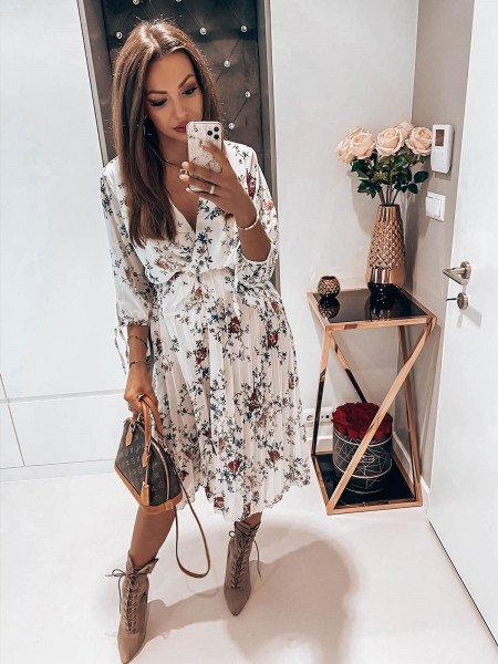Sukienka midi z plisowanym dołem DAKOTA - biel