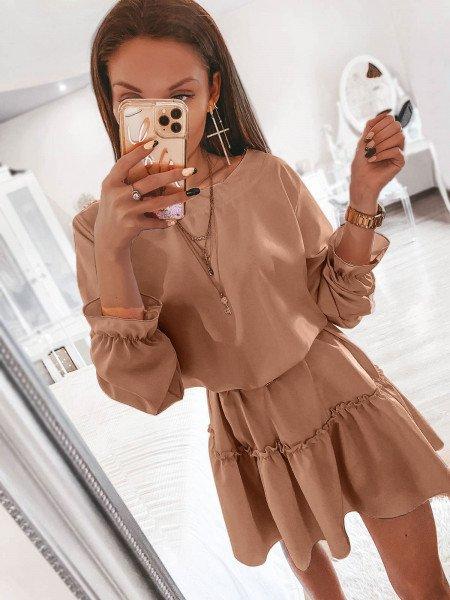 Sukienka mini z falbaną CHELO - latte