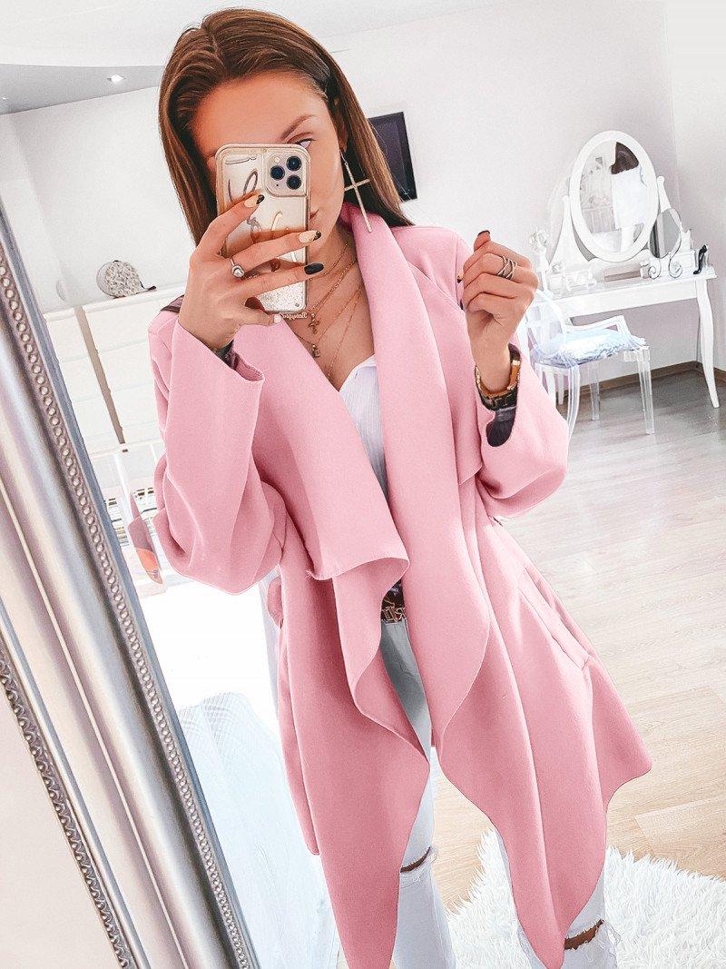 Flauszowy płaszcz wiązany - SPRING - pastelowy róż