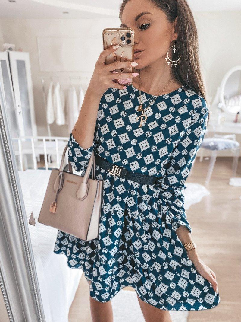 Trapezowa sukienka w print GRACIA -...