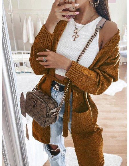 Sweterkowy kardigan NAOMI - musztardowy