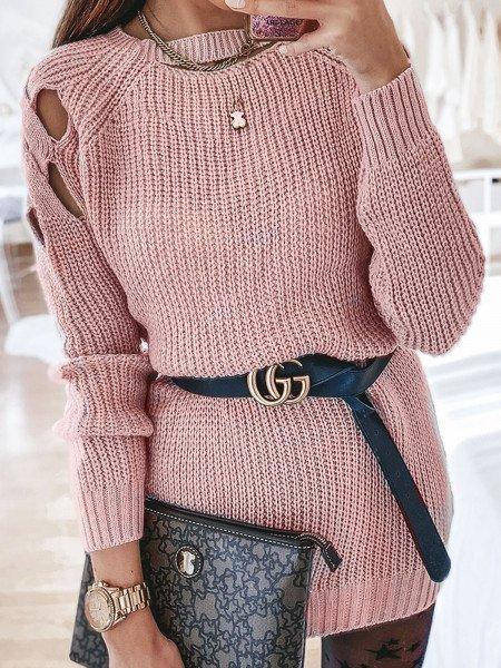 Sweterkowa tunika sweterek AZZURRA - pudrowy róż