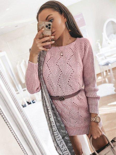 Pleciony sweterek tunika LAUREN - pudrowy róż