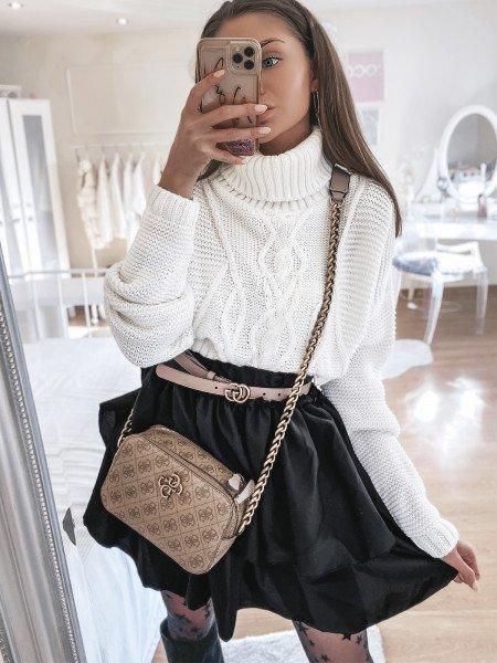 Kobieca mini spódniczka z falbanką EMMA - czarna