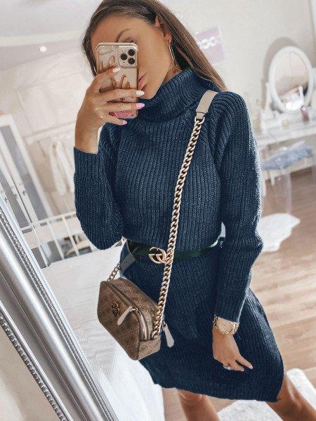 Sweterkowa sukienka tunika z golfem FASSA - morski