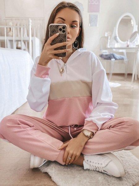 Trójkolorowy dres spodnie + bluzka - PASTELS - pudrowy róż