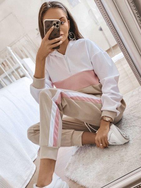 Trójkolorowy dres spodnie + bluzka - PASTELS - beżowy