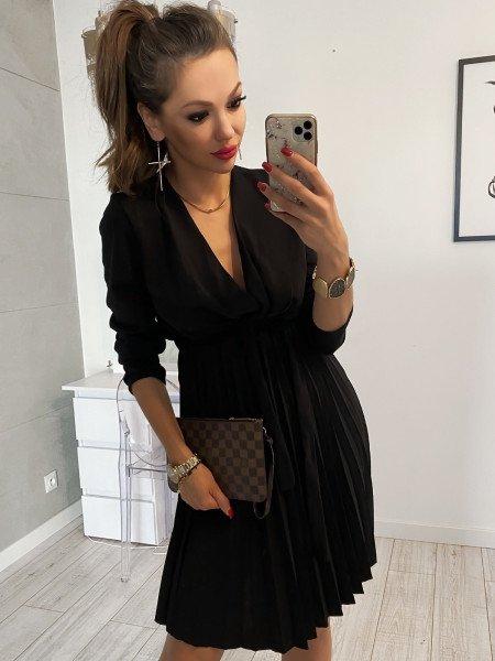 Plisowana sukienka midi PAMELA - czarna