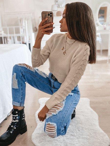 Sweter z plecionym rękawem BRAID - beżowy