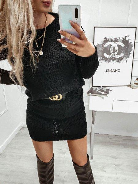 Dzianinowy komplet sweter + spódnica - LORI - czerń
