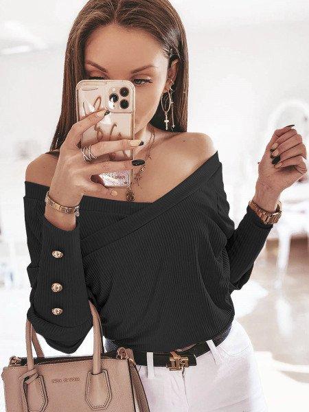 Prążkowana kopertowa bluzka...
