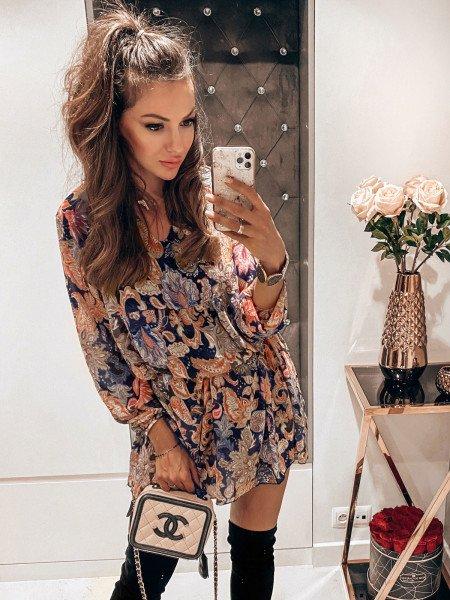 Sukienka oversize w kwiatowy print SAMUELA - wzór 3