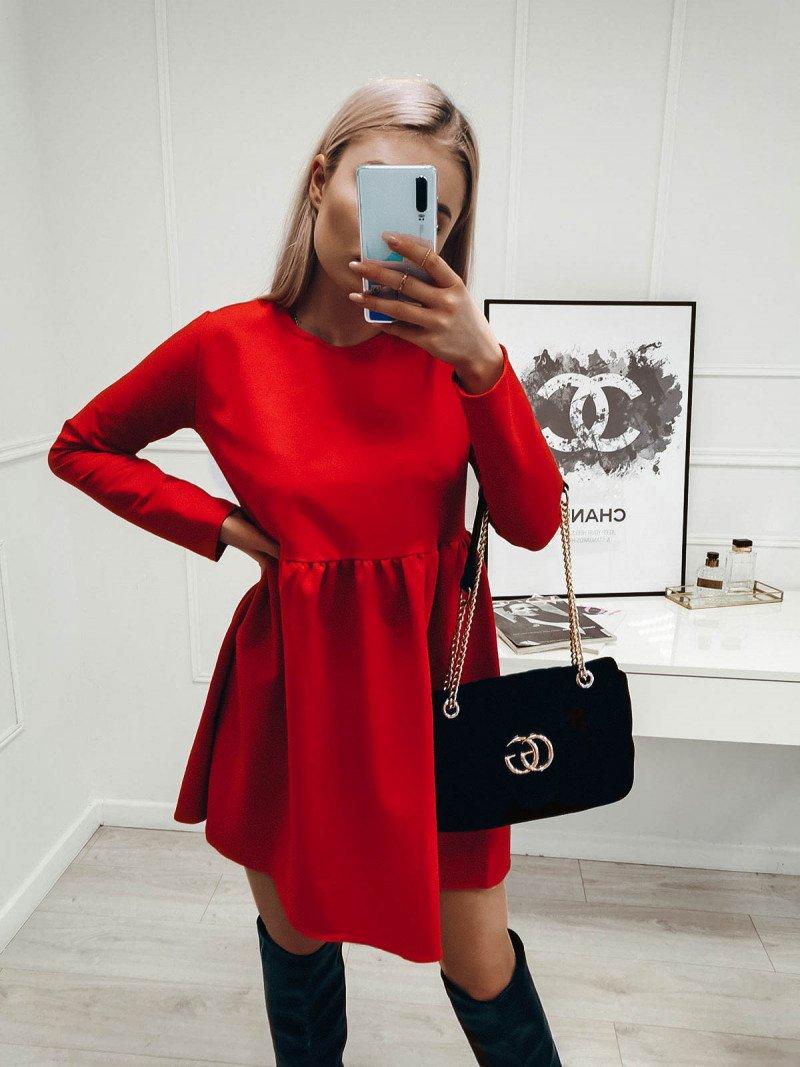 Rozkloszowana sukienka MANOLA - czerwony