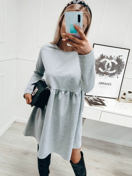 Rozkloszowana sukienka MANOLA - szary melange