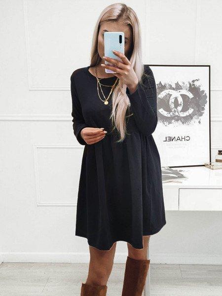Rozkloszowana sukienka MANOLA - granatowy