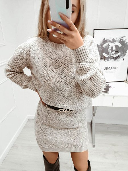 Dzianinowy komplet sweter +...