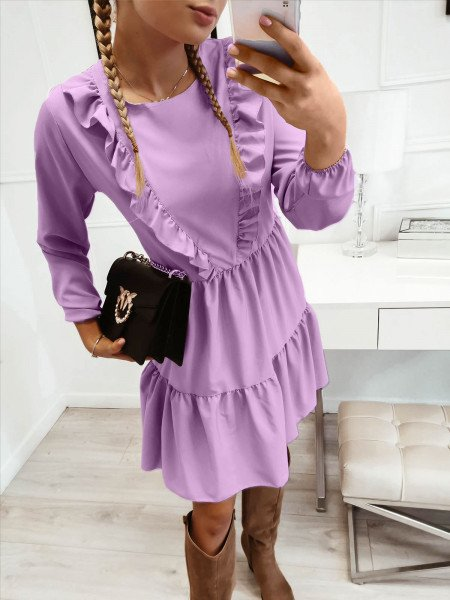 Trapezowa sukienka z falbanką SILVIA - lila