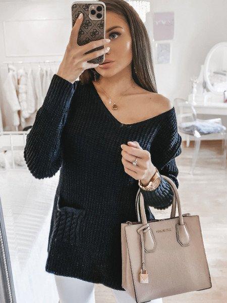 Sweter z kieszonką NURIA -...