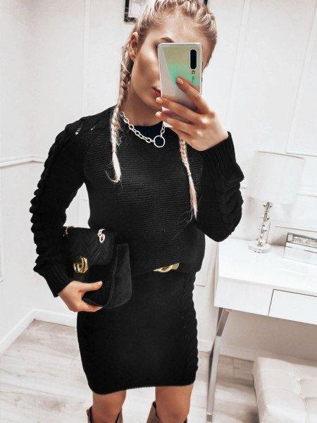 Dzianinowy komplet sweter + spódnica - SALIMA - czarny