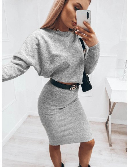 Komplet damski bluzka + spódnica DARIA - szary melange
