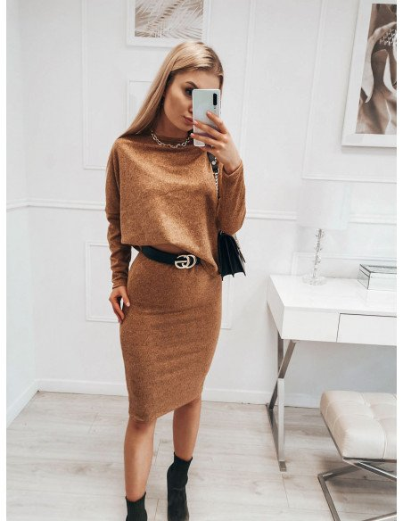 Komplet damski bluzka + spódnica DARIA - karmelowy