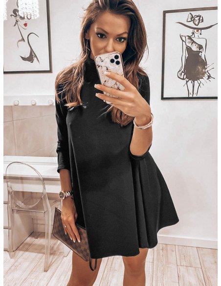 Trapezowa sukienka z półgolfem AZIZA - czarna