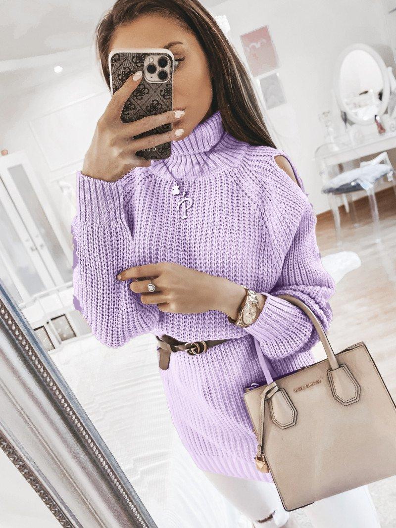 Sweterek z golfem MARINA - lila