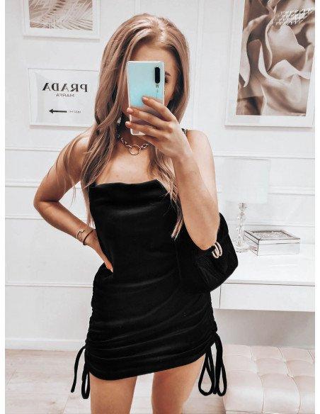 Welurowa sukienka na ramiączkach GISELE - czarna