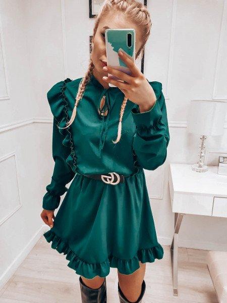 Sukienka z wiązanym dekoltem ASTRID - butelkowa zieleń