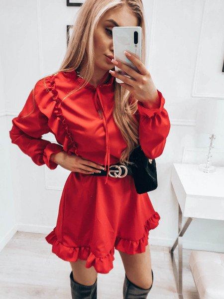Sukienka z wiązanym dekoltem ASTRID - czerwony