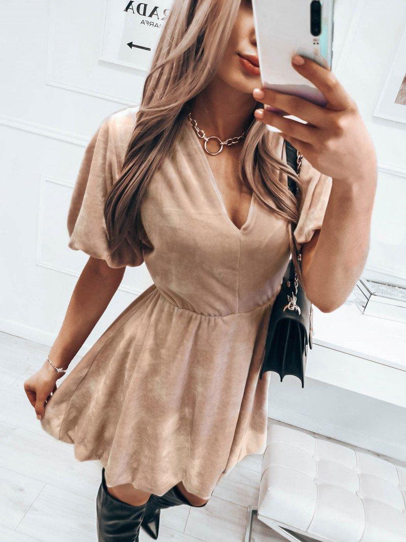 Kobieca welurowa sukienka bombka Amanda - beżowy