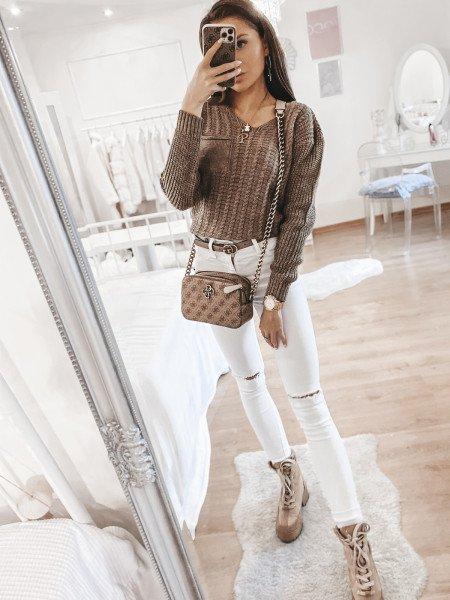 Asymetryczny sweter z...