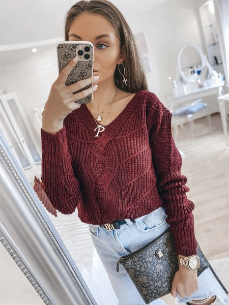 Pleciony sweter KINGA - bordo