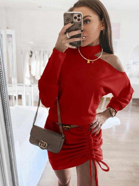 Kobieca sukienka z chokerem MATYLDA - czerwona