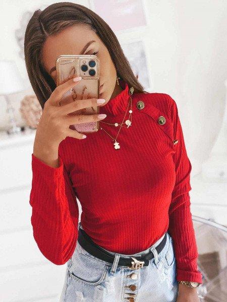 Prążkowana bluzka ze stójką SMOTHIE - czerwony