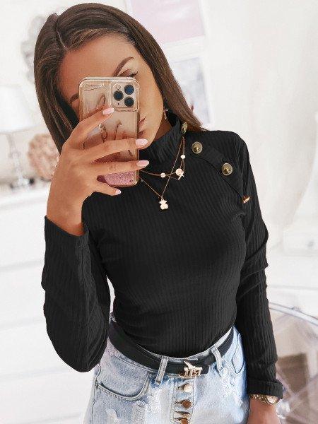 Prążkowana bluzka ze stójką SMOTHIE - czerń