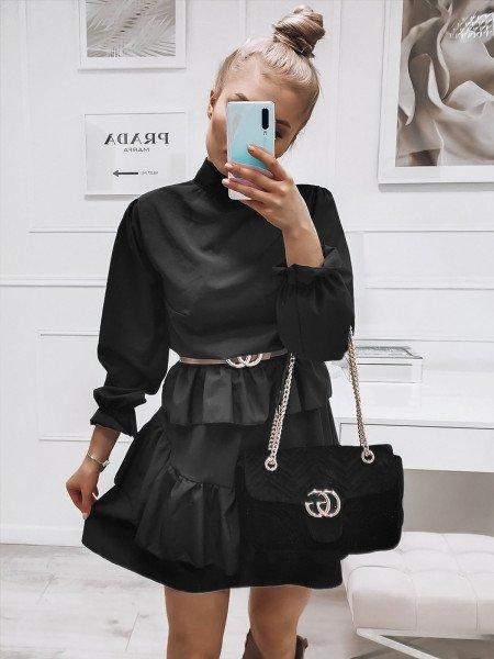 Rozkloszowana sukienka ze stójka AZALIA- czarna
