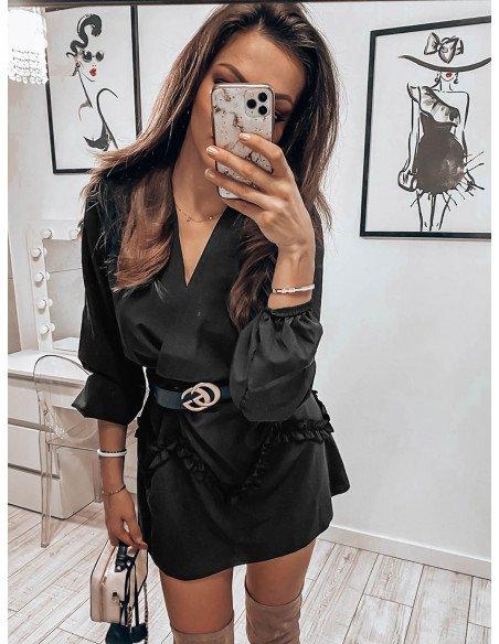 Rozkloszowana sukienka z falbanką - GINGER - czarny
