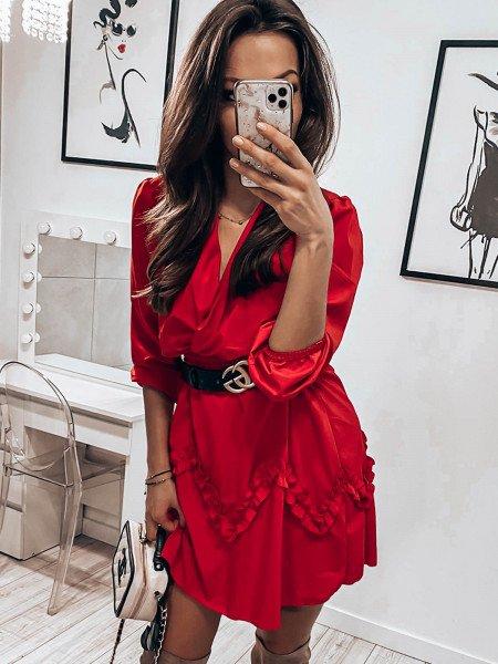 Rozkloszowana sukienka z falbanką - GINGER - czerwony