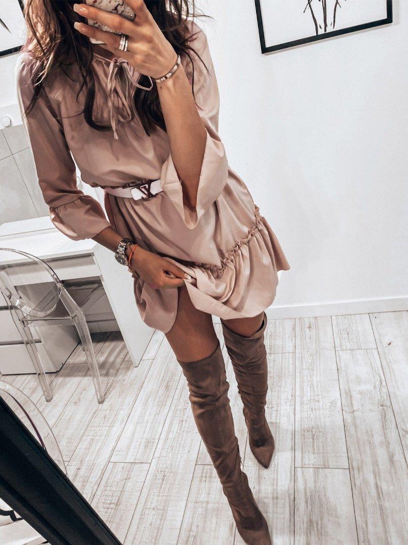 Trapezowa sukienka z wiązanym...