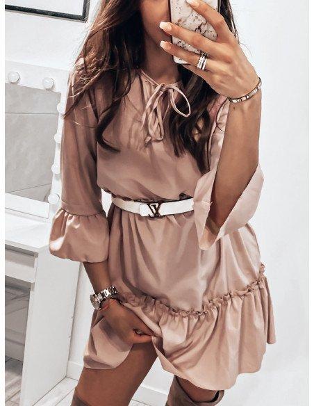 Trapezowa sukienka z wiązanym dekoltem YVONNE - pudrowy róż