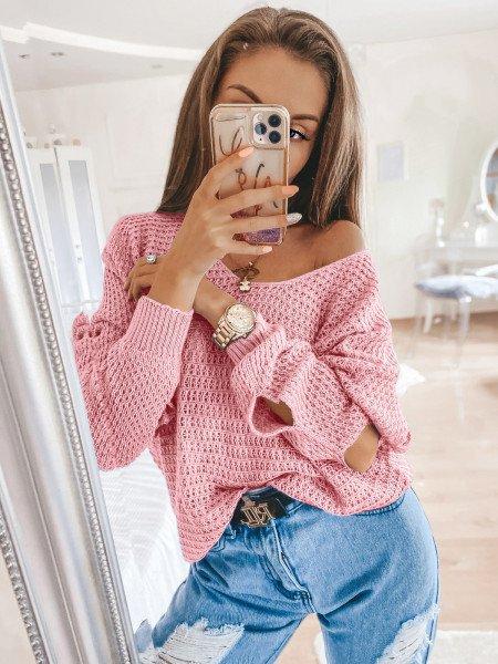Pleciony sweter z rozcięciami ASHLEY - pudrowy róż